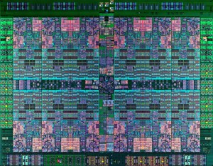 Close-up photograph of the IBM POWER8 CPU chip