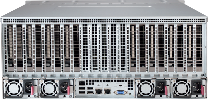 Rear view of Microway Octoputer 8-GPU 48-drive Server