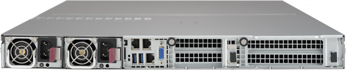 Photo of the rear of Microway NumberSmasher 1U Server with NVLink