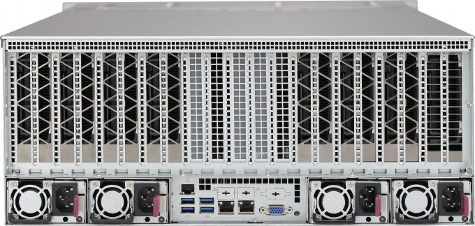 Rear view of Microway Octoputer 10-GPU Server with Single Root Complex