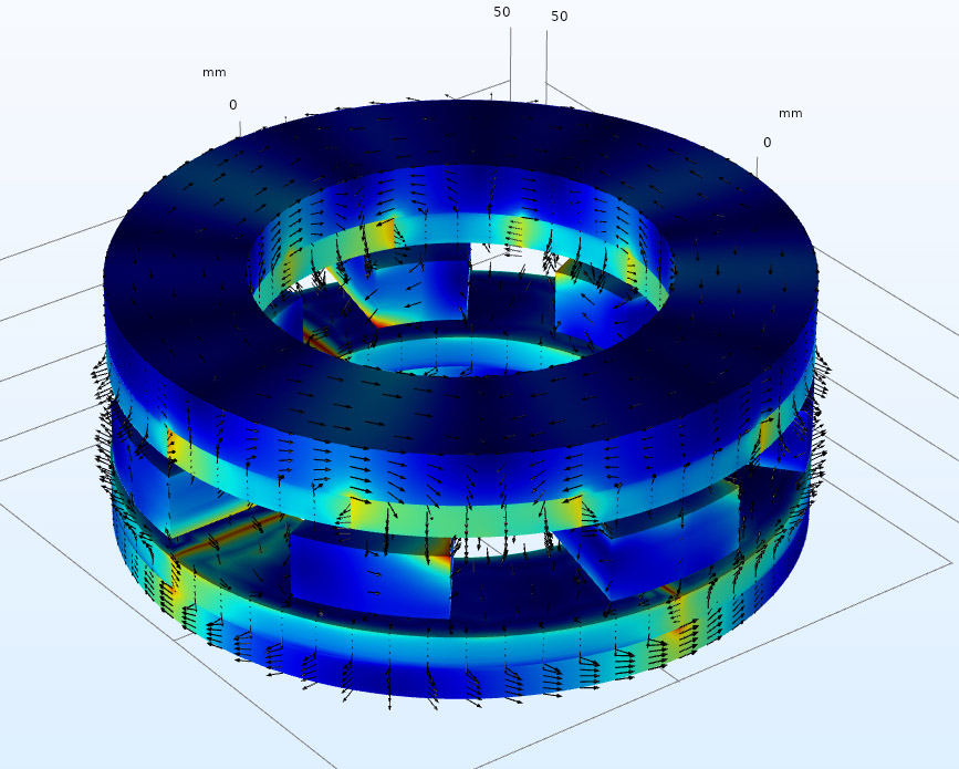 Screenshot of COMSOL multiphysics running an example model: axial field magnetic gear in 3D