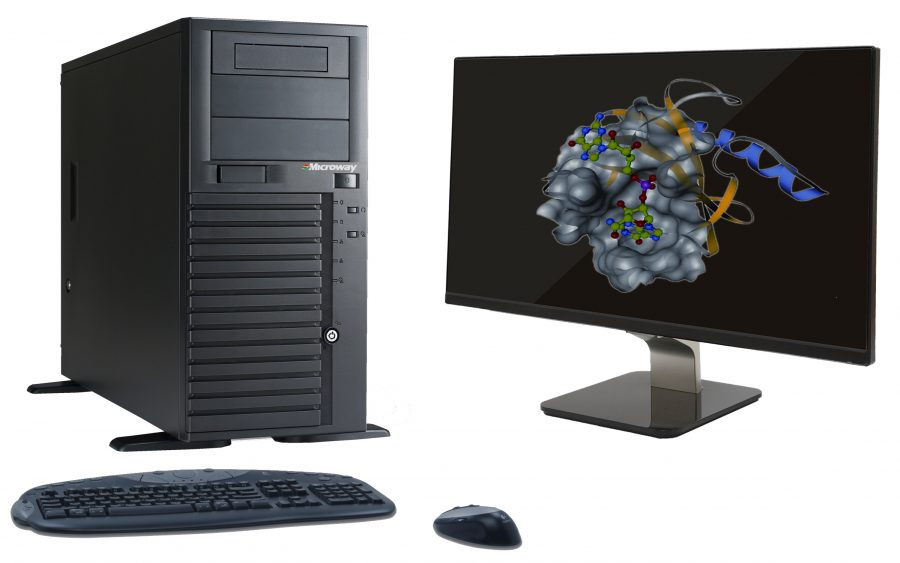 Photograph of Microway's WhisperStation Quiet Workstation running a Molecular Dynamics visualization