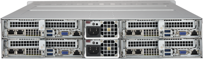 Photograph of the rear of Microway 2U Xeon Phi Server (Twin design with four servers in 2U)