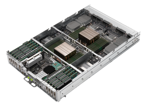 Photo of the internal system sled of DGX A100 with CPUs, Memory, and HCAs