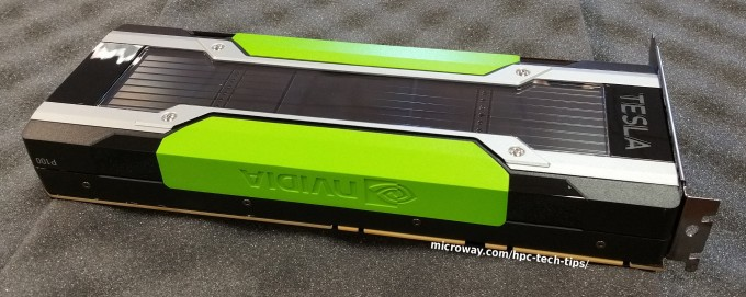 Close-up photo of the NVIDIA Tesla P100 PCI-E GPU