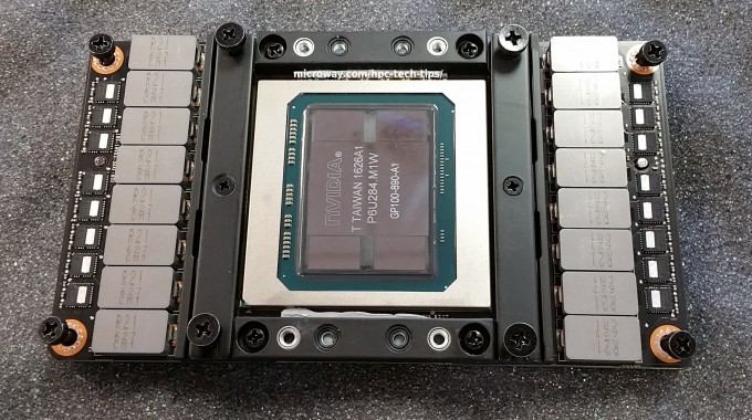 Close-Up Photo of the NVIDIA Tesla P100 NVLink GPU
