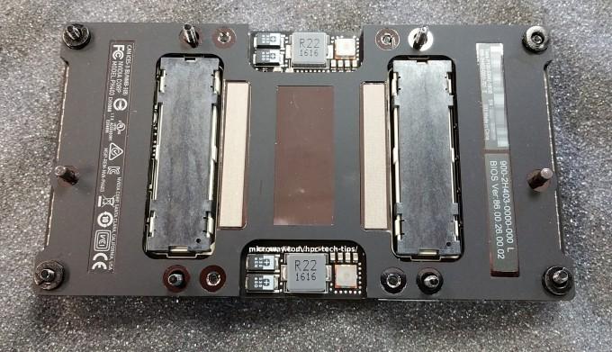 Photo of the back side of the NVIDIA Tesla P100 NVLink GPU