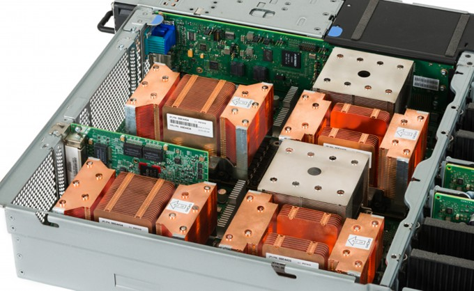 Photo of NVIDIA Tesla P100 NVLink GPUs in an OpenPOWER server